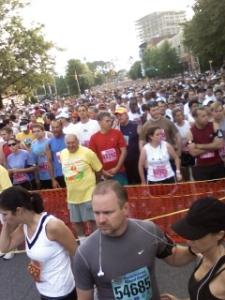 Runners wait to start